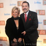 """New York City. Tuesday, May 10, 2011. Latino Commission on AIDS. Cielo Latino. Left to right: Actress Guadalupe """"Lupe"""" Ontiveros and Guillermo Chacón, Latino Commission on AIDS President. Photo by Javier Soriano/www.JavierSoriano.com"""