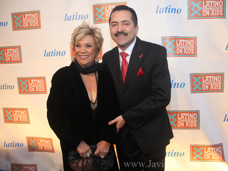 "New York City. Tuesday, May 10, 2011. Latino Commission on AIDS. Cielo Latino.  Left to right: Actress Guadalupe ""Lupe"" Ontiveros and Guillermo Chacón, Latino Commission on AIDS President. Photo by Javier Soriano/www.JavierSoriano.com"