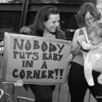 """10/14/2011 Manhattan, NYC - Thousands of people defended Zuccotti Park. Occupy Wall Street demonstrators can stay (for now) at Liberty Plaza. """"Nobody puts baby in a corner!!"""" Photo by Javier Soriano/www.JavierSoriano.com"""
