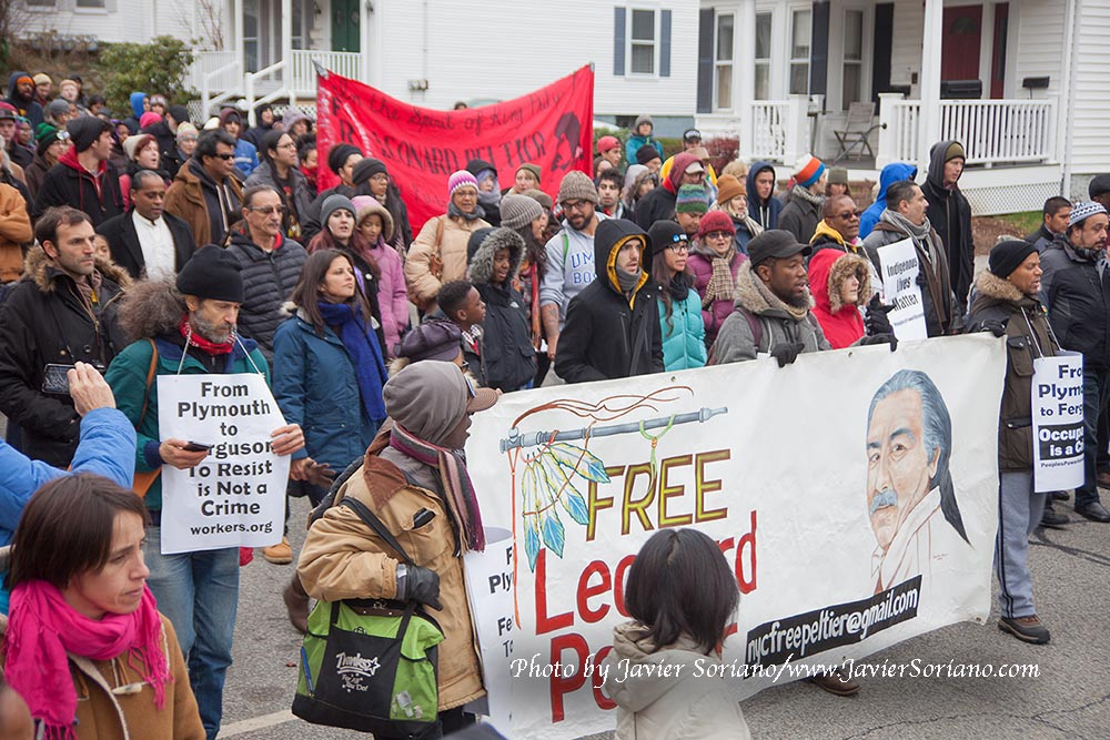 "Yesterday, November 27th, 2014, was the 45th National Day of Mourning. It was dedicated to Native political prisoner Leonard Peltier. The United American Indians of New England says ""Add your voice to the millions world-wide who demand his freedom. Help us in our struggle to create a true awaren of Native peoples and demonstrate the unity of Indigenous peoples internationally. Help shatter the untrue glass image of the Pilgrims and the unjust system based on racism, sexism, homophobia and war."""