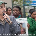 """Thursday, May 21, 2015. New York City – Today, as part of the National Day of Action for Black Women and girls, there was a rally in Flatbush, Brooklyn in support of Kyam Livingston's family. The Justice for Kyam Livingston committee, said """"We will continue to rally until justice is served for kyam Livingston. Let your voices be heard."""" Kyam Livingston, a 37 year old mom, died in Brooklyn Central Bookings on July 21, 2013, after crying out in pain for 7 hours. Her pleas for medical attention were ignored. No one has been held accountable. Anita Neal, kyam Livingston's mother, said she will not give up. She asks supporters to Keep the fight up for not just kyam but for all."""" Photo by Javier Soriano/http://www.JavierSoriano.com/"""