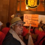 6/24/2015 - Demonstrators demand stronger rent laws. The Capitol in Albany, Capital of New York State.  Photo by Javier Soriano/http://www.JavierSoriano.com/