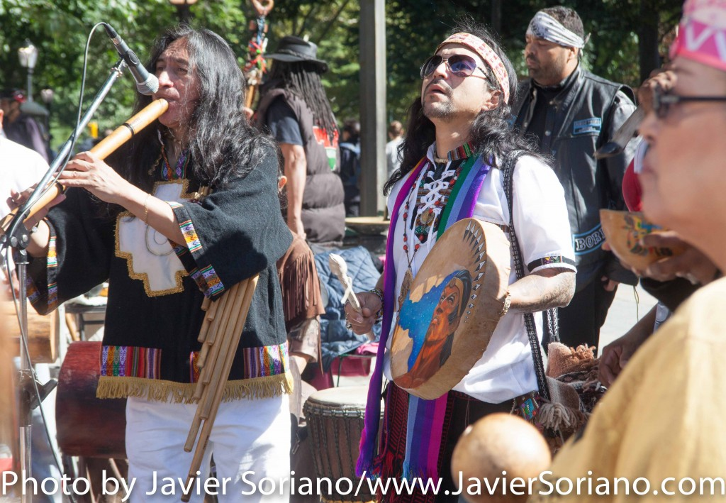 "On Sunday, October 11, 2015, a group of Indigenous people from different indigenous groups gathered at the corner of 59th Street and Central Park in Manhattan, New York, to celebrate the 8th Annual Indigenous Day Of Remembrance. Organizers of the event, said on Facebook ""We remember the sacrifices the Indigenous peoples suffered in 1492 and beyond under the tyranny of Christopher Columbus and those that followed him to the present day. We will never forget their sacrifices and suffering. We remember through storytelling, music, and ceremony."" Photo by Javier Soriano/http://www.JavierSoriano.com/"