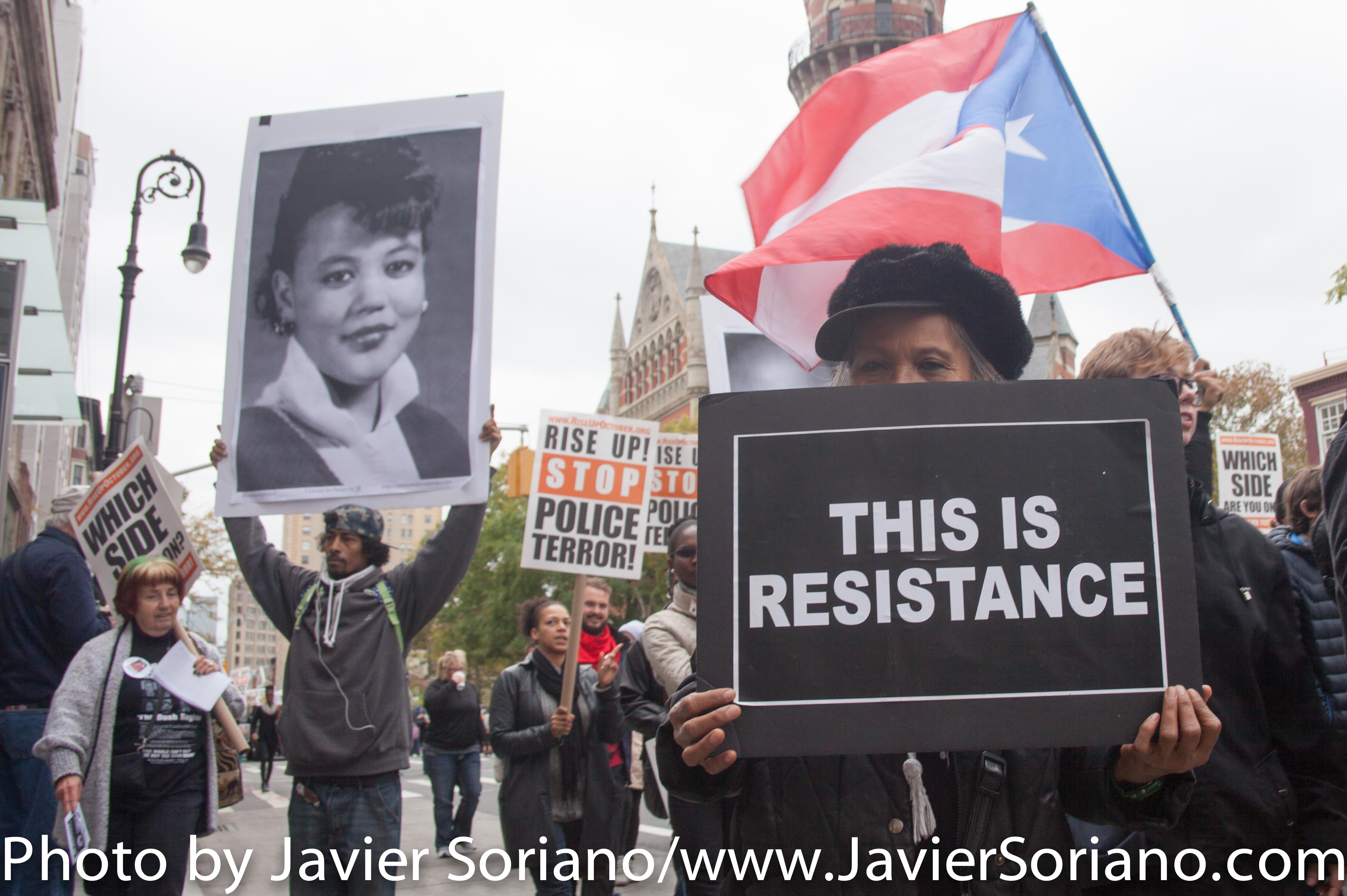 On Saturday, October 24, 2015, thousands gathered at Washington Square Park for a rally and march against police brutality in the United States of America. After the rally, they marched to Bryant Park where they had another rally. 11 people were arrested in Midtown during the #RiseUpOctober protest. Photo by Javier Soriano/http://www.JavierSoriano.com/
