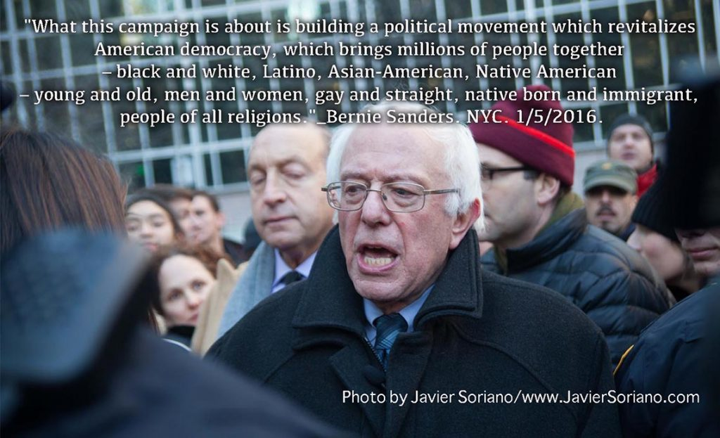 1/5/2016 Manhattan, NYC - Bernie Sanders in NYC. Photo by Javier Soriano/http://www.JavierSoriano.com/