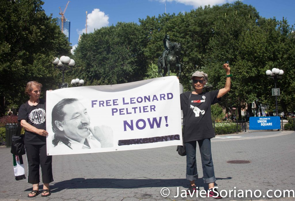 8/07/2016 Union Square, NYC - Rally in support of the Standing Rock Sioux Nation.  There were activists that support Leonard Peltier. Ask Obama to pardon Leonard Peltier. Photo by Javier Soriano/www.JavierSoriano.com