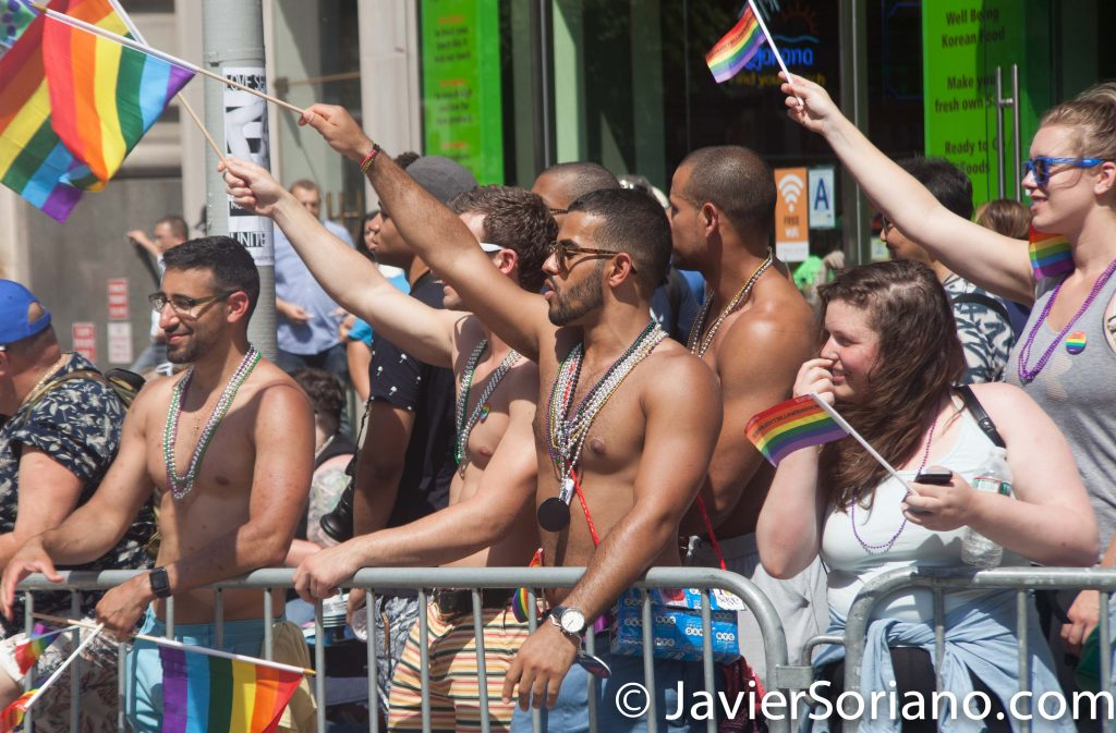 6/26/2016 PRIDE March. NYC. Beautiful men and women watching the March. Photo by Javier Soriano/www.JavierSoriano.com