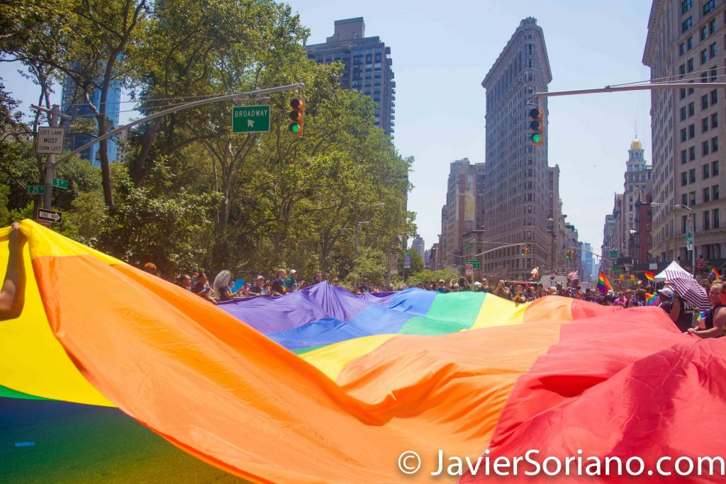 6/26/2016 LGBTQ PRIDE March. NYC. The Gay flag and the Flatiron building in the background. Photo by Javier Soriano/www.JavierSoriano.com