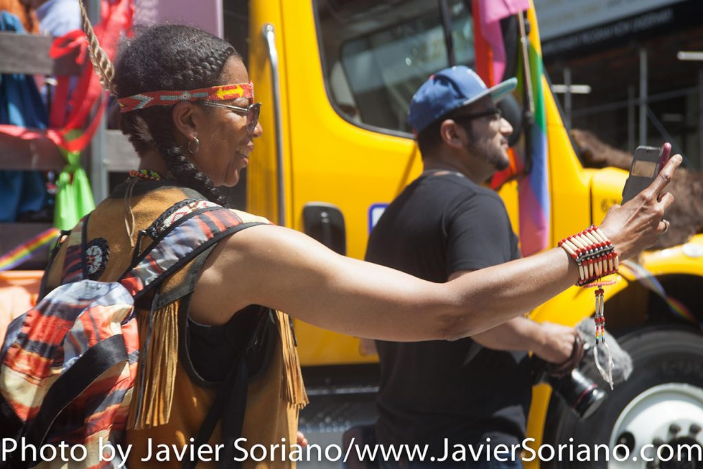 6/26/2016 LGBTQ PRIDE March. NYC. A Native American woman. Photo by Javier Soriano/www.JavierSoriano.com