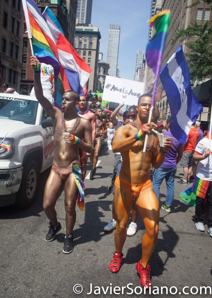6/26/2016 LGBTQ PRIDE March. NYC. Beautiful Latino men. Photo by Javier Soriano/www.JavierSoriano.com