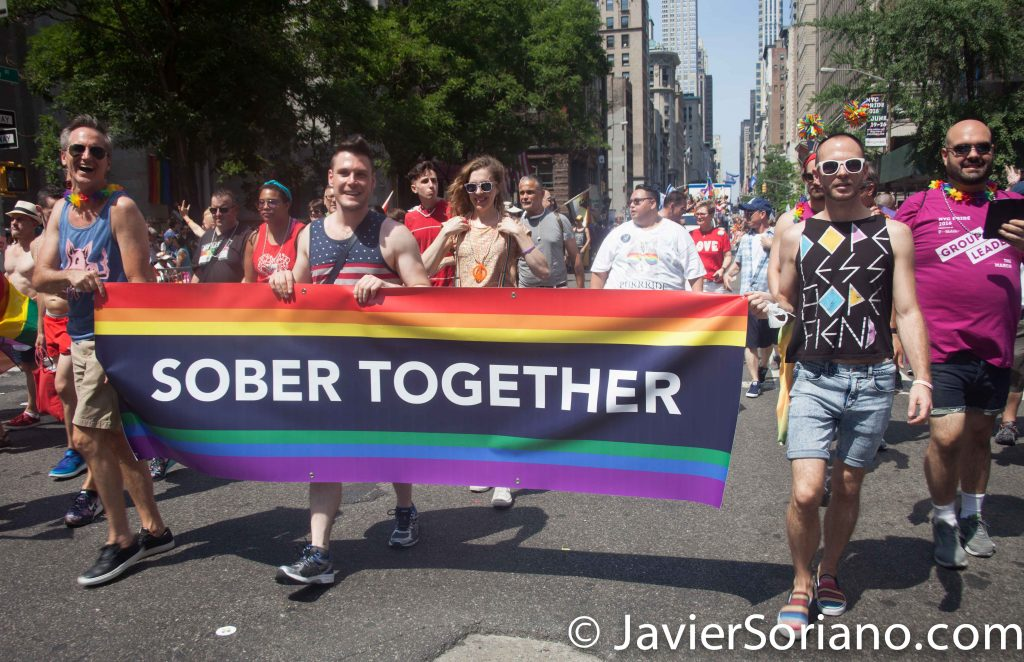 "6/26/2016 LGBTQ PRIDE March. NYC. ""Sober together."" Photo by Javier Soriano/www.JavierSoriano.com"