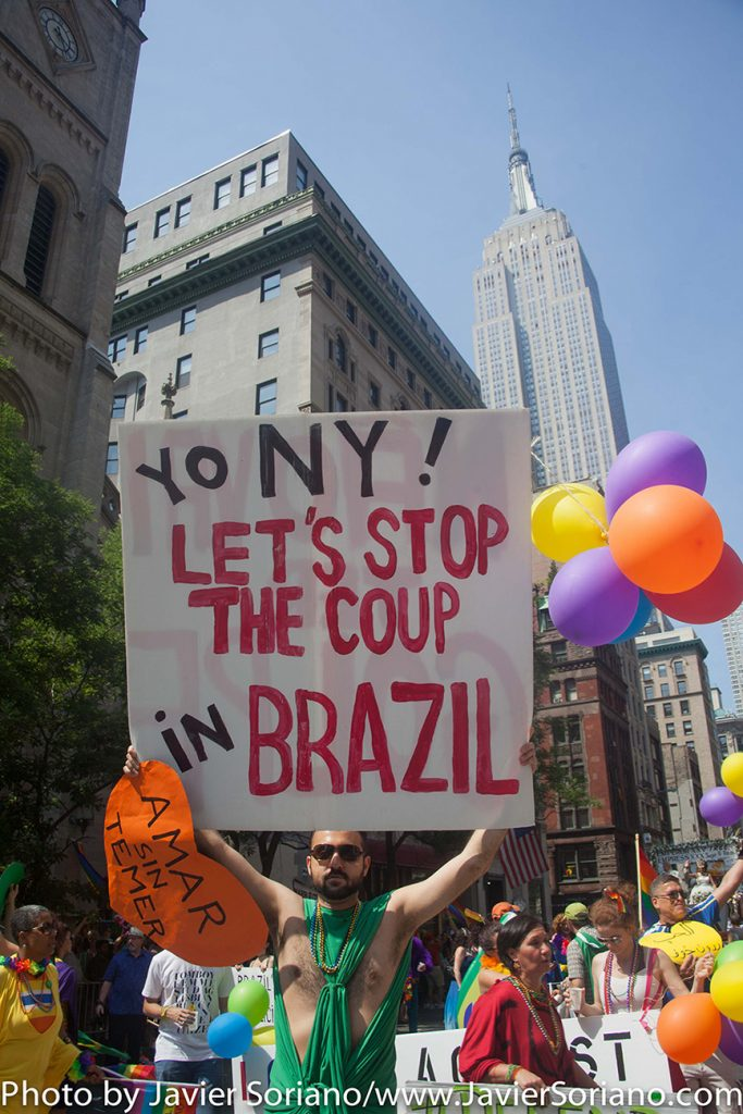 "6/26/2016 LGBTQ PRIDE March. NYC. ""Yo NY, let's stop the coup in Brazil."" Photo by Javier Soriano/www.JavierSoriano.com"