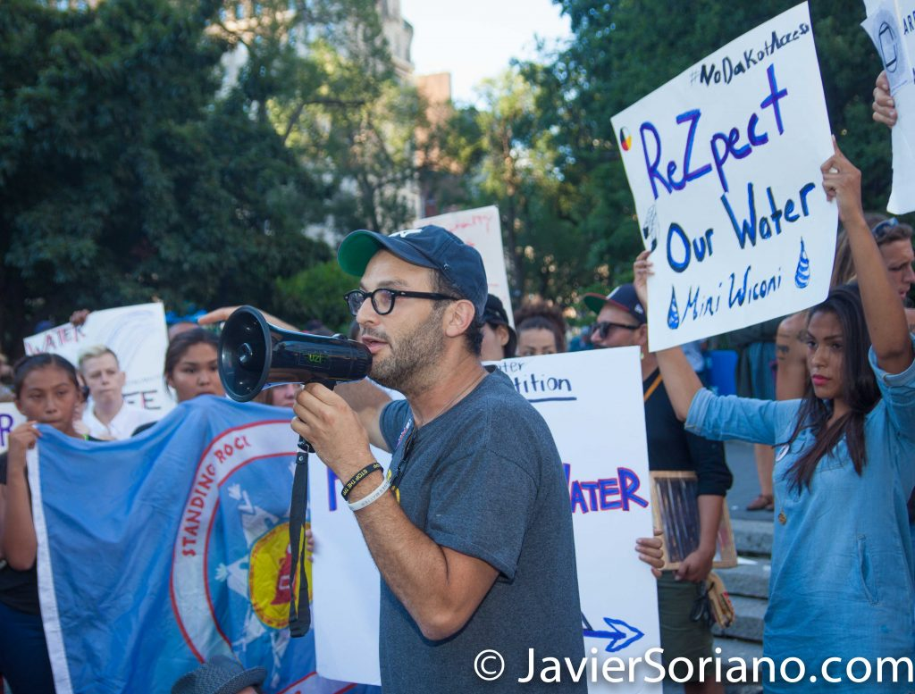 8/07/2016 Union Square, NYC - Rally in support of the Standing Rock Sioux Nation.  Josh Fox and other Water protectors. Photo by Javier Soriano/www.JavierSoriano.com
