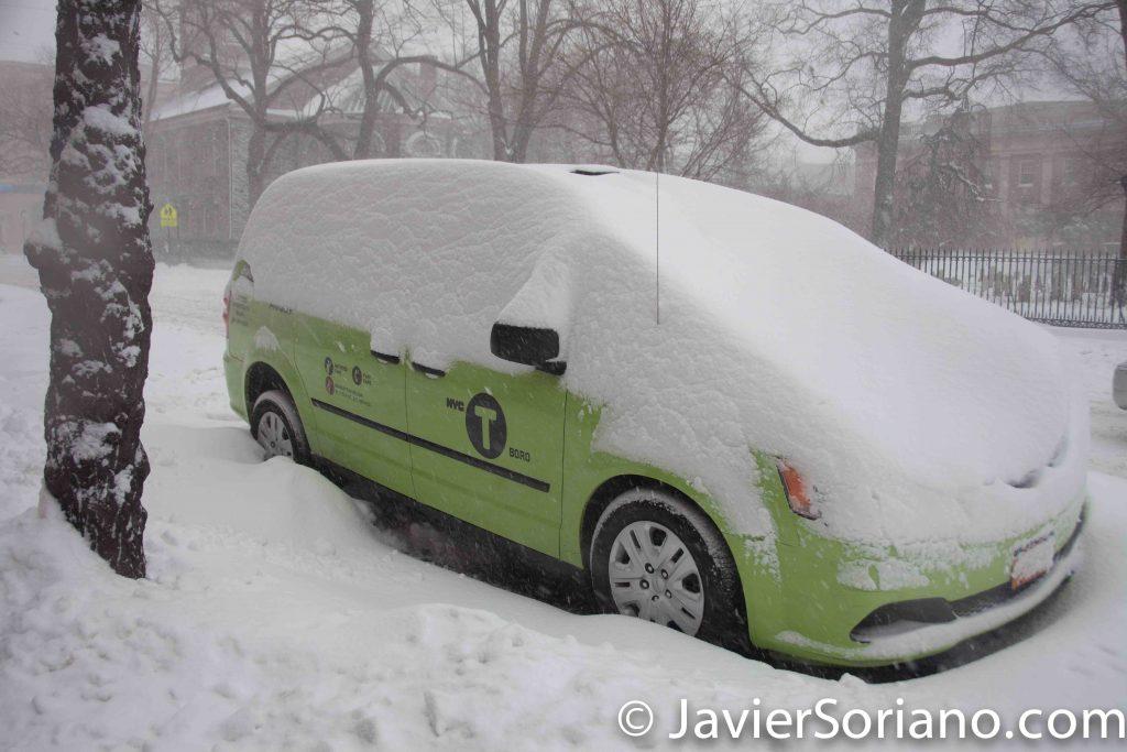 1/23/2016 New York City - It's snowing in NYC. I love snow. Taxi, taxi, I need you to take me to a Mexican bakery. Are not you working? OK.... Photo by Javier Soriano/www.JavierSoriano.com