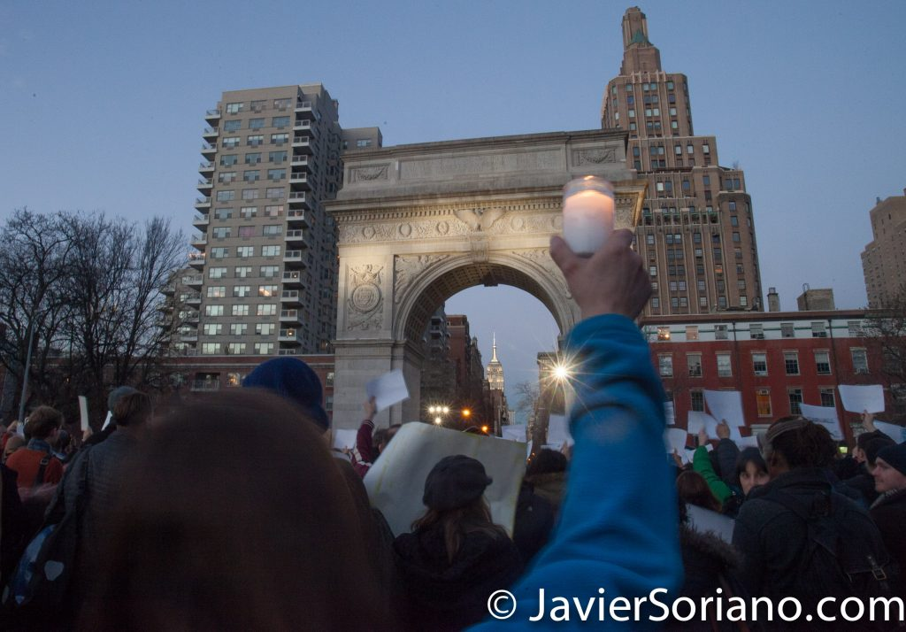 1/25/17 Washington Square Park, NYC - New Yorkers support Muslims, Immigrants, Refugees. Photo by Javier Soriano/www.JavierSoriano.com