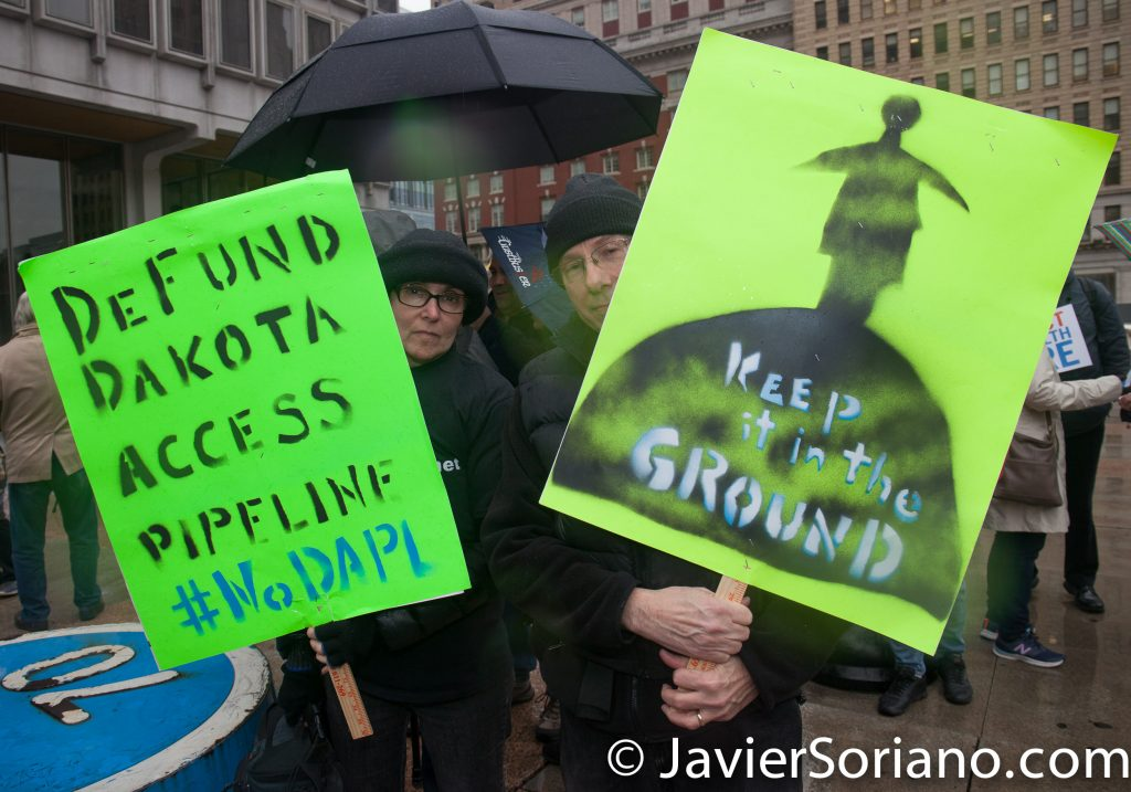 "1/26/2017 People's protectors demonstrate in Philadelphia, PA. ""Defund Dakota Access Pipeline. #NoDAPL."" ""Keep it in the ground."" Photo by Javier Soriano/www.JavierSoriano.com"