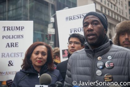 1/20/2017 NYC - Protectors said they will resist the Trump administration from Day One. Photo by Javier Soriano/www.JavierSoriano.com