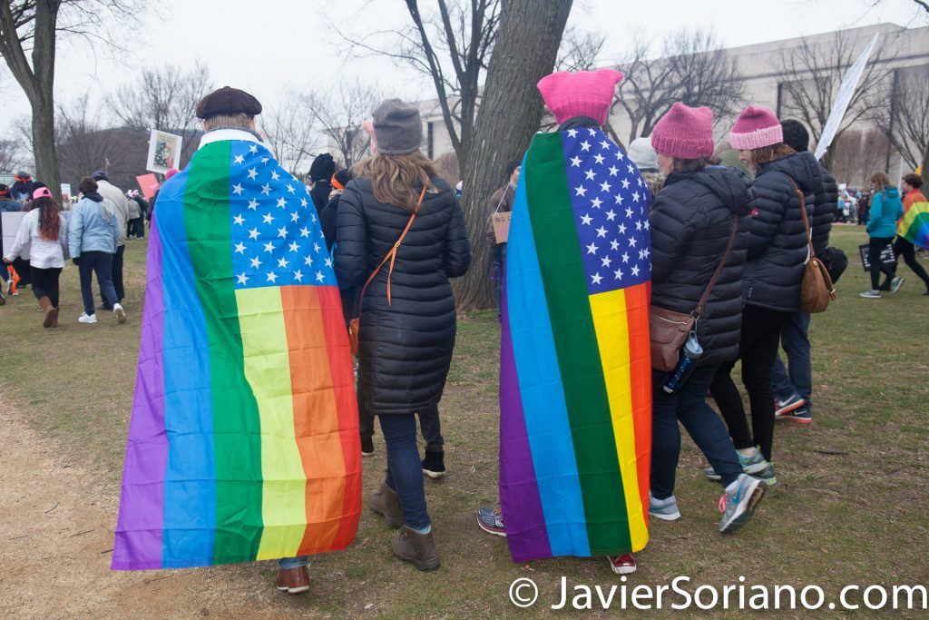 1/21/2017 - Women's March on Washington D.C.  People with the gay flag. Photo by Javier Soriano/www.JavierSoriano.com