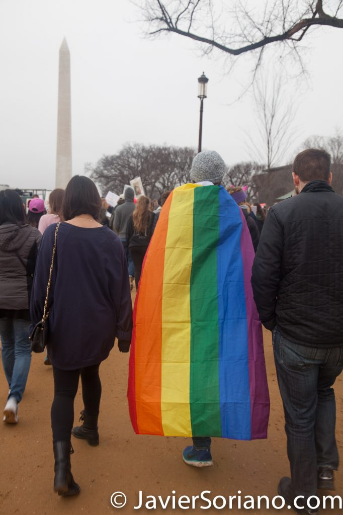 1/21/2017 - Women's March on Washington D.C. A man with the gay flag. Photo by Javier Soriano/www.JavierSoriano.com