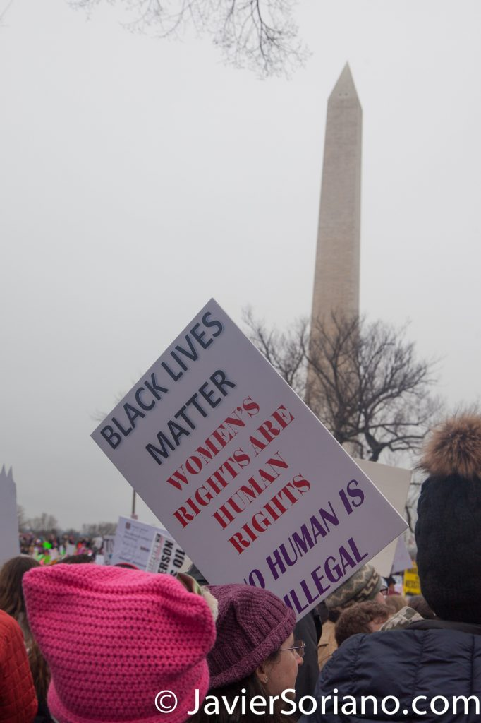 "1/21/2017 - Women's March on Washington D.C.  ""Black Lives Matter. Women's rights are human rights. No human is illegal."" Photo by Javier Soriano/www.JavierSoriano.com"