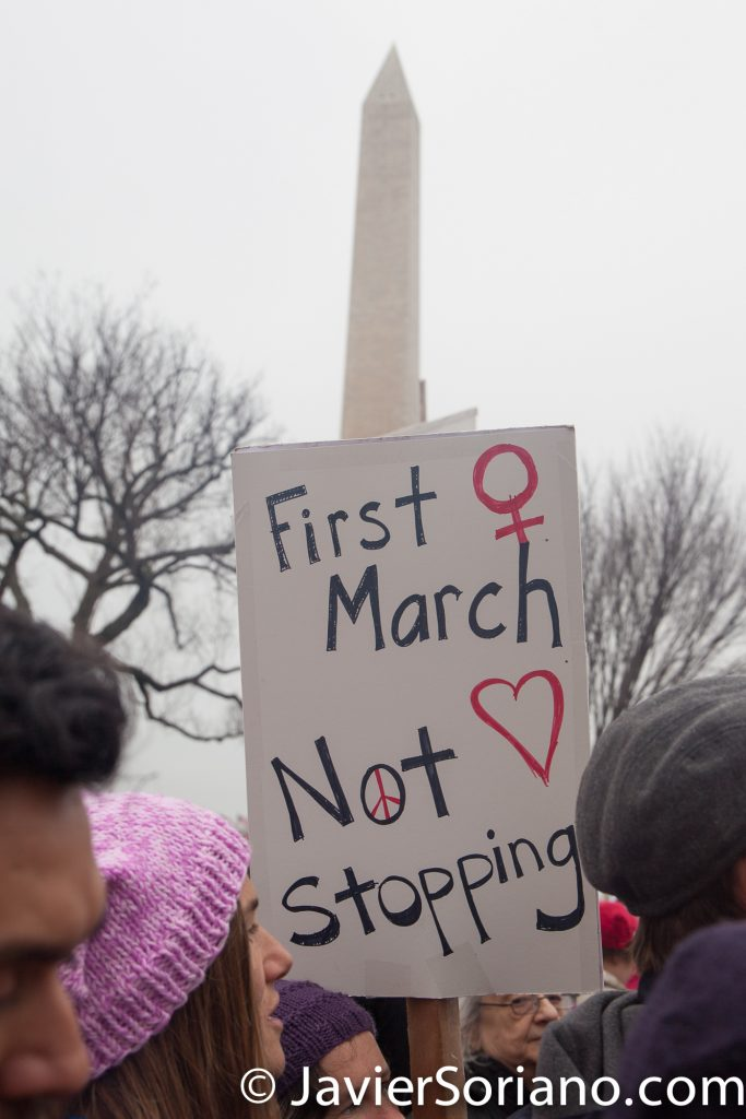 "1/21/2017 - Women's March on Washington D.C.  ""First march. Not stopping."" Photo by Javier Soriano/www.JavierSoriano.com"