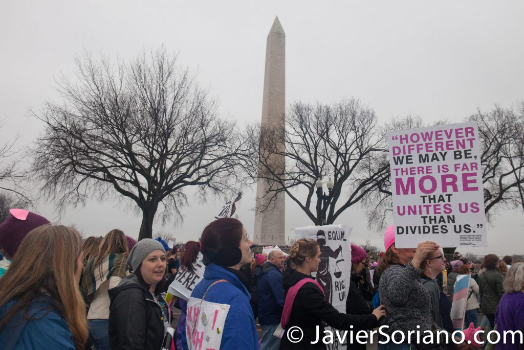 "1/21/2017 - Women's March on Washington D.C.  ""However different we may be, there is far more that unites us than divides us."" Photo by Javier Soriano/www.JavierSoriano.com"