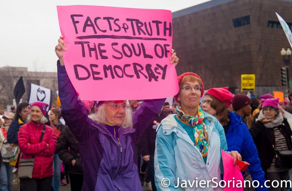 "1/21/2017 - Women's March on Washington D.C.  ""Fact and truth the soul of democracy."" Photo by Javier Soriano/www.JavierSoriano.com"