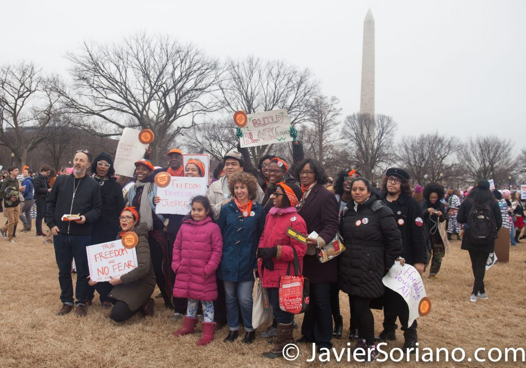 1/21/2017 - Women's March on Washington D.C.  People from NYC posing for a picture. Photo by Javier Soriano/www.JavierSoriano.com