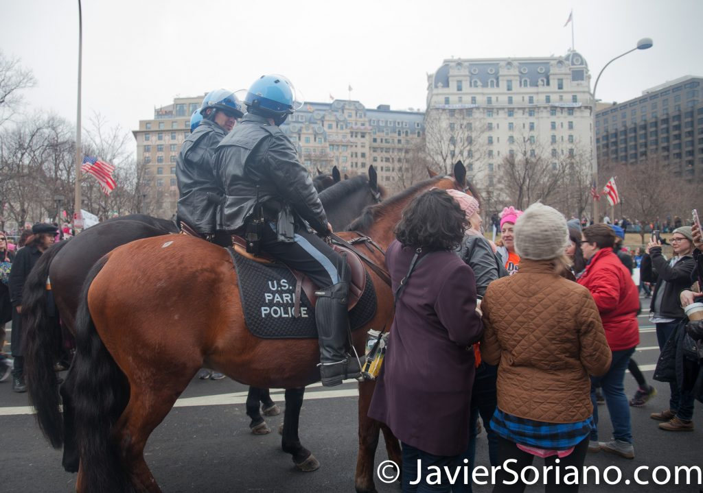 1/21/2017 - Women's March on Washington D.C.  Police officers on their horses. Photo by Javier Soriano/www.JavierSoriano.com