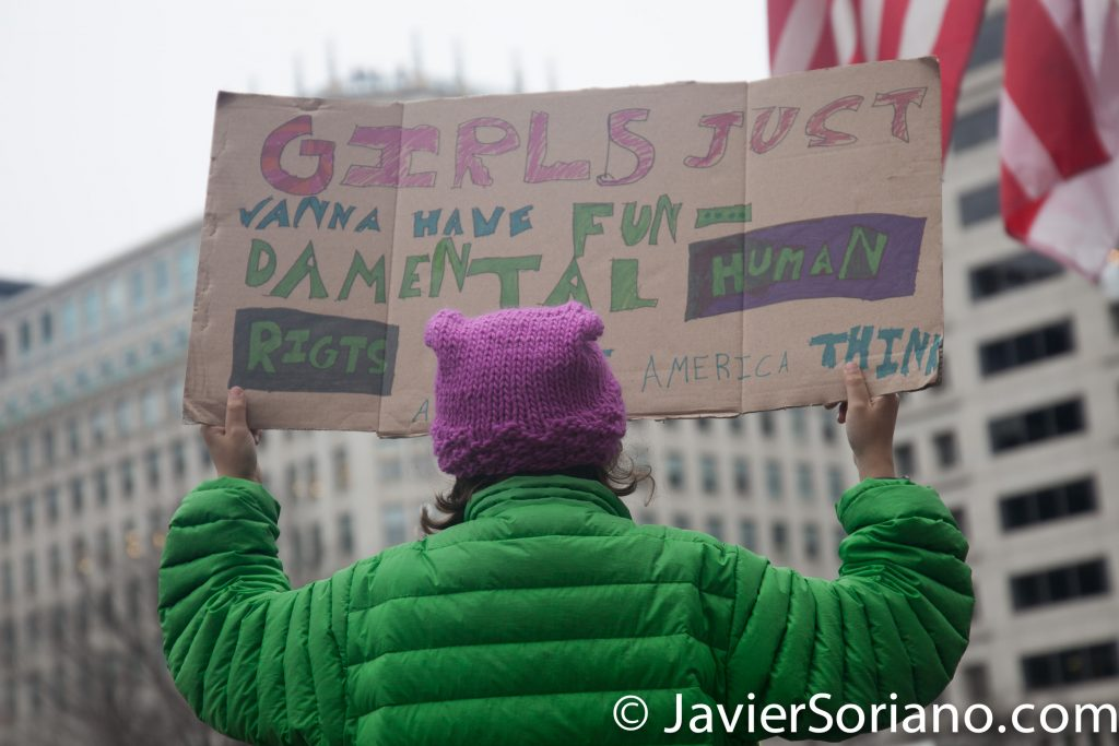 "1/21/2017 - Women's March on Washington D.C.  ""Girls just wanna have fun-damental human rights."" ""Make American think again."" Photo by Javier Soriano/www.JavierSoriano.com"