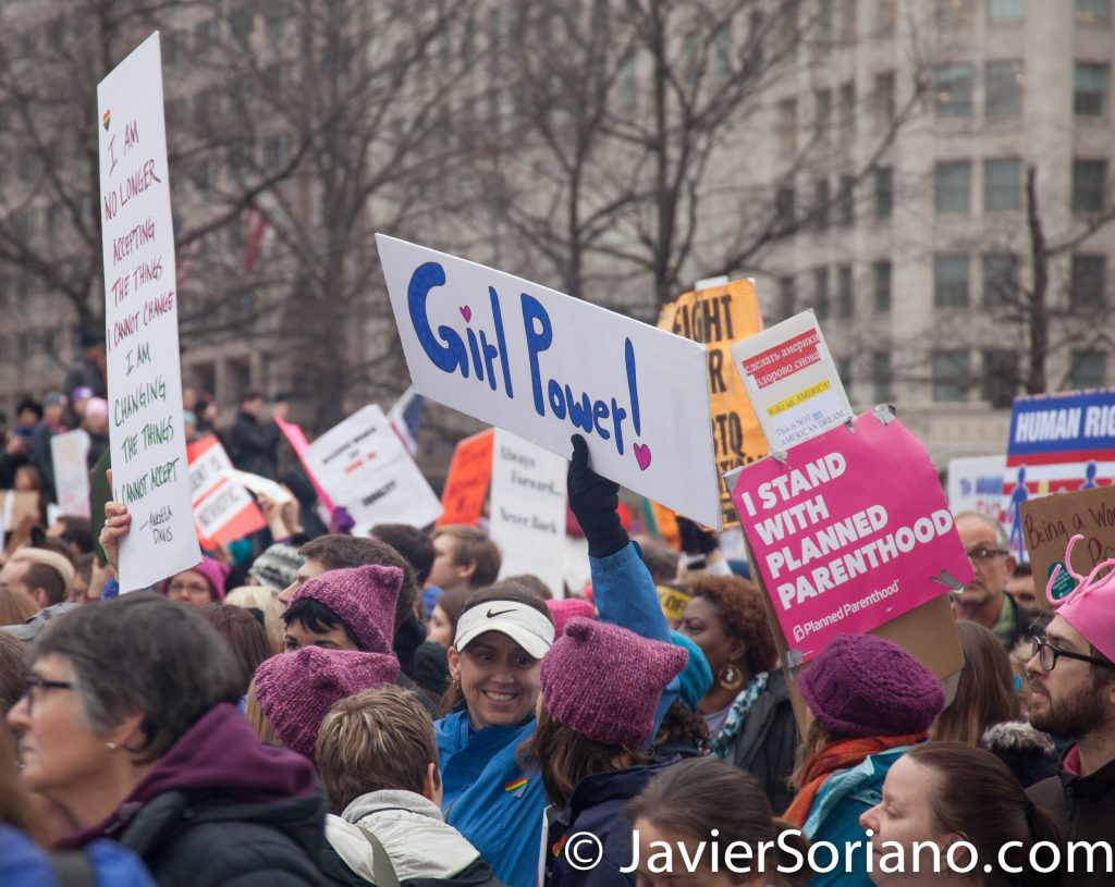 "1/21/2017 - Women's March on Washington D.C.  ""Girl power!"" ""I stand with Planned Parenthood."" Photo by Javier Soriano/www.JavierSoriano.com"