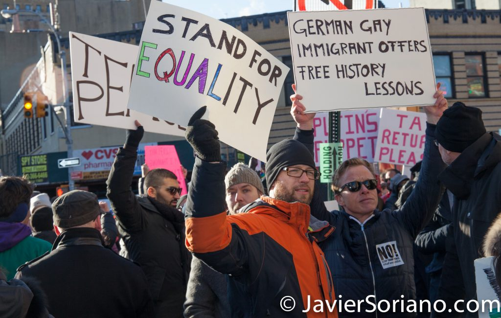 2/4/2017 NYC - LGBT Solidarity Rally at Stonewall Inn in support of immigrants, refugees, Muslims, ALL. Photo by Javier Soriano/www.JavierSoriano.com