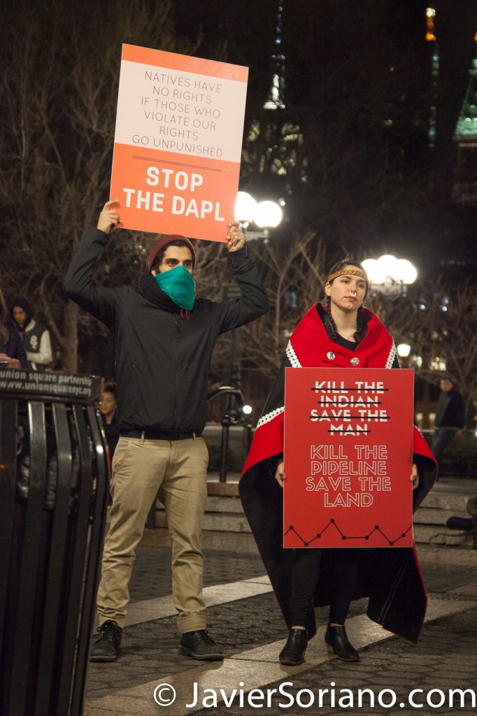 2/22/2017 Union Square - New Yorkers support water protectors at Standing Rock. Photo by Javier Soriano/www.JavierSoriano.com