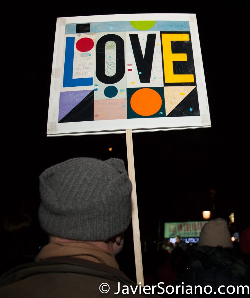 2/14/2017. Washington Square Park, NYC - Valentine's Day as a day of Revolutionary Love. Photo by Javier Soriano/www.JavierSoriano.com