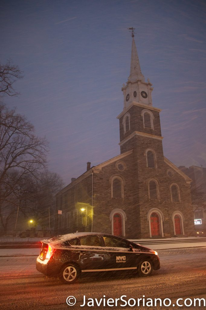 "Morning. 2/9/2017 NYC - Winter storm Niko in Brooklyn. ""The Flatbush Reformed Protestant Dutch Church, also known as the Flatbush Reformed Church, is a historic Dutch Reformed church – now a member of the Reformed Church in America."" Photo by Javier Soriano/www.JavierSoriano.com"