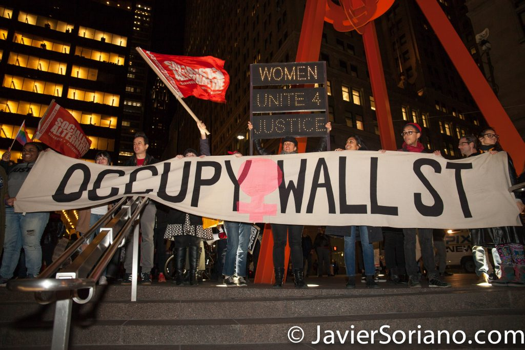 "3/8/2017 Zuccotti Park - International Women's Day in NYC. Thousands of people marched from Washington Square Park to Liberty Plaza (Zuccotti Park). ""Occupy Wall Street"" Photo by Javier Soriano/www.JavierSoriano.com"