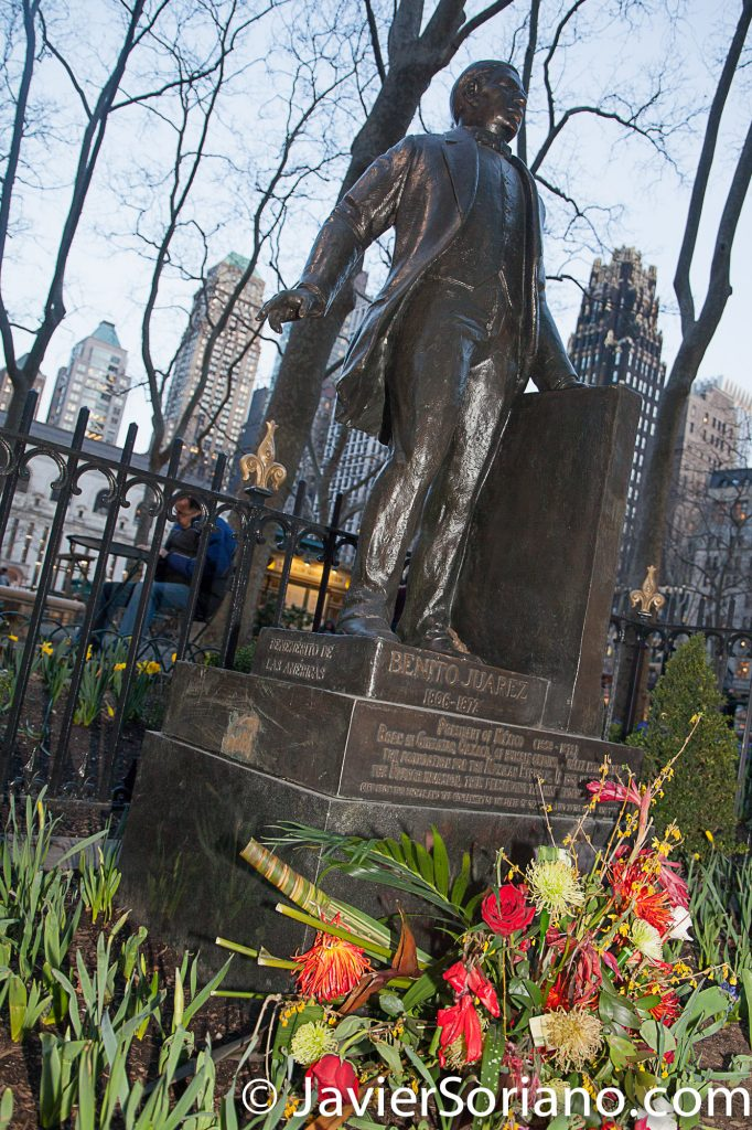 3/24/2017 New York City - Former Mexican President Benito Pablo Juárez García. Bryant Park. Benito was a Mexican lawyer and liberal politician of Zapotec origin from Oaxaca. Photo by Javier Soriano/www.JavierSoriano.com