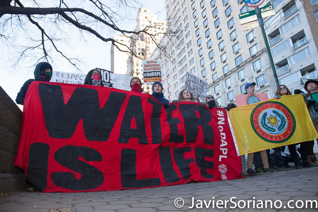 3/4/2017 - People's protectors in NYC support Native Nations. Photo by Javier Soriano/www.JavierSoriano.com
