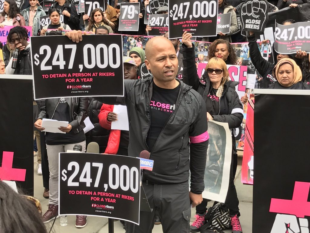 """4/24/2017 NYC - """"Progressives don't spend this kind of money to torture people."""" - @glennEmartin Photo by the Close Rikers campaign."""