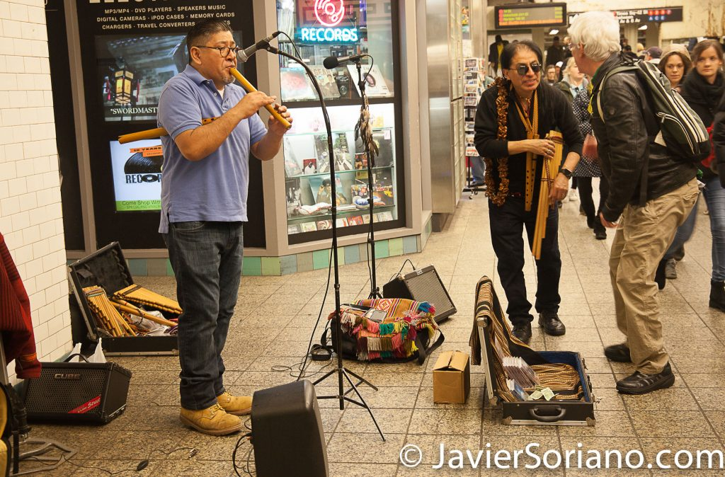 "4/22/2017 NYC - I took this picture after the ""March For Science."" Indigenous men playing music inside the train station. Photo by Javier Soriano/www.JavierSoriano.com"