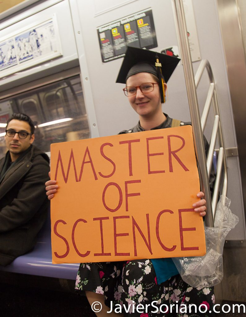 4/22/2017 NYC - March for science. A woman on the subway after the march. Photo by Javier Soriano/www.JavierSoriano.com
