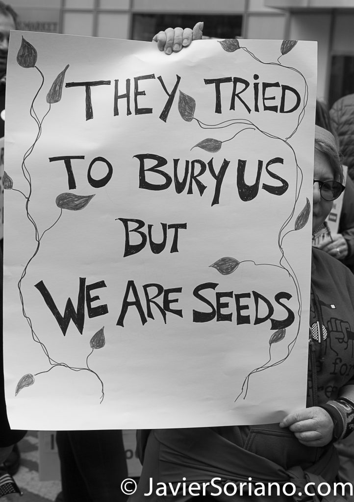 "3/25/2017 NYC - People for Free Press. Activist at Bryant Park. ""They tried to bury us but we are seeds."" Photo by Javier Soriano/www.JavierSoriano.com"