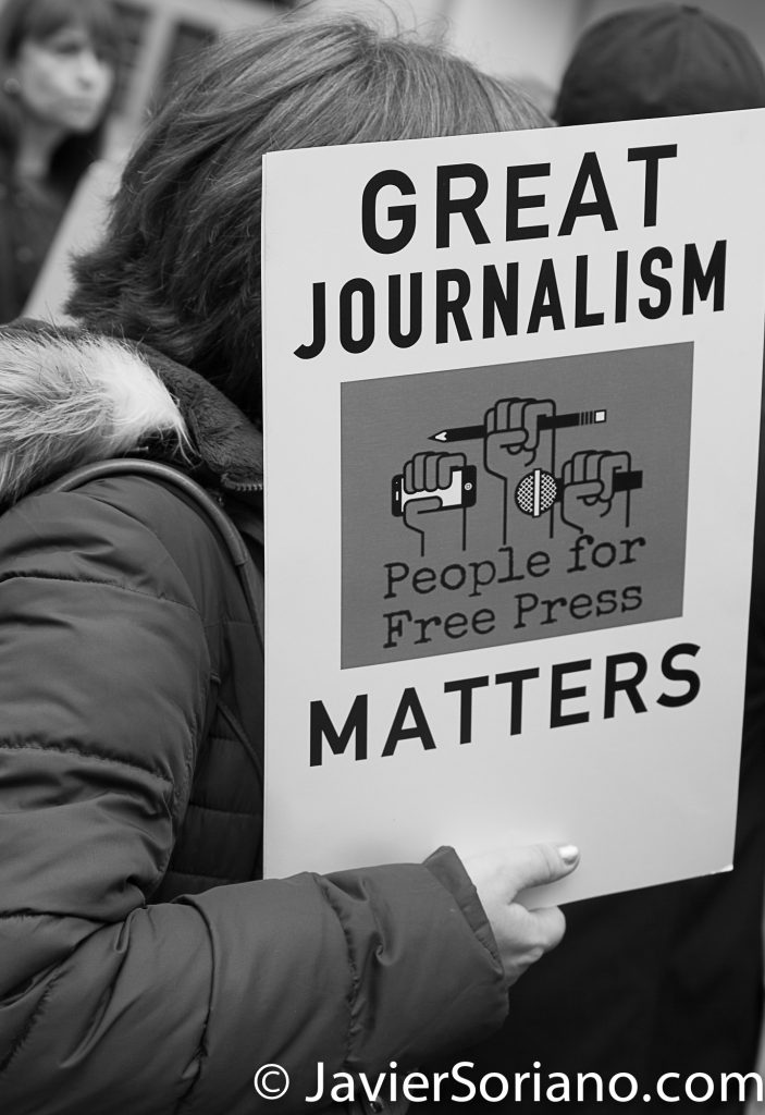 "3/25/2017 NYC - People for Free Press. Activist at Bryant Park. ""Great journalism matters. People for free press."" Photo by Javier Soriano/www.JavierSoriano.com"