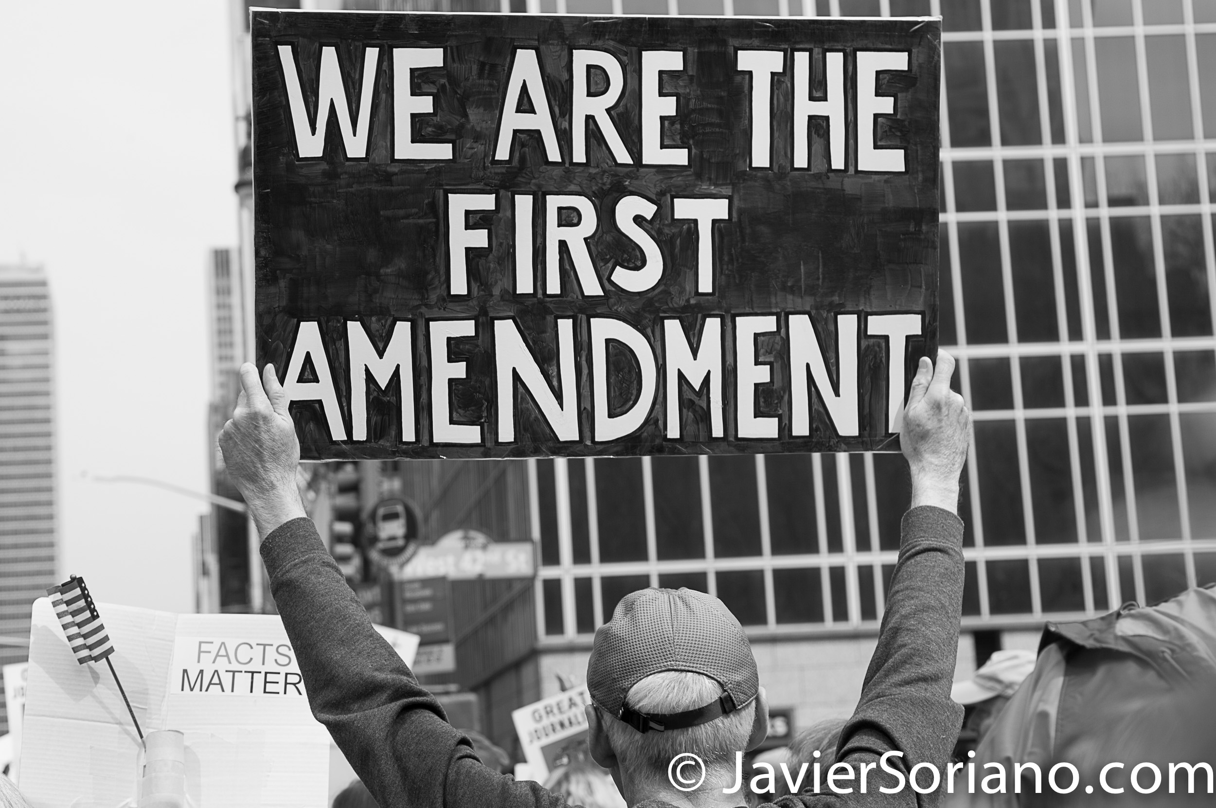 "3/25/2017 NYC - People for Free Press. Activist at Bryant Park. ""We are the First Amendment."" Photo by Javier Soriano/www.JavierSoriano.com"