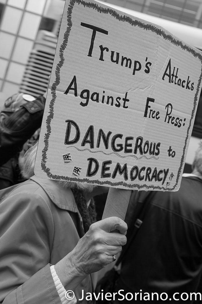 "3/25/2017 NYC - People for Free Press. Activist at Bryant Park. ""Trump's attacks against free press dangerous to Democracy."" Photo by Javier Soriano/www.JavierSoriano.com"