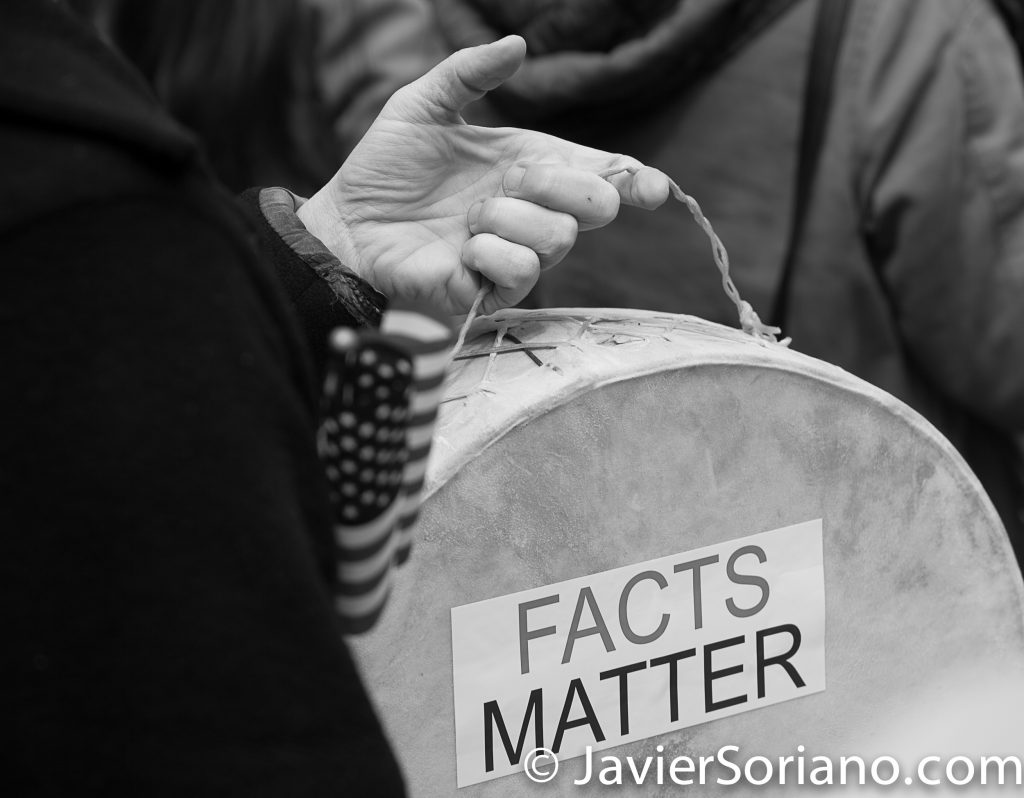 "3/25/2017 NYC - People for Free Press. Activist at Bryant Park. ""Facts matter."" Photo by Javier Soriano/www.JavierSoriano.com"