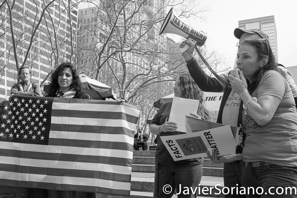 3/25/2017 NYC - People for Free Press. Activists at Bryant Park. Photo by Javier Soriano/www.JavierSoriano.com