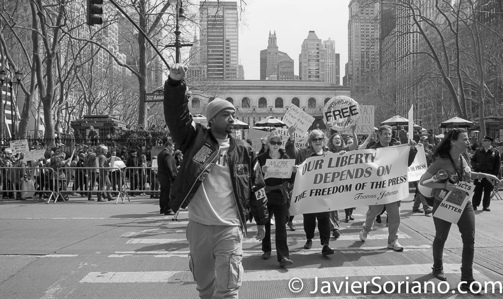 "3/25/2017 NYC - People for Free Press. Activists marching from Bryant Park to the New York Times building. ""Our liberty depends on the freedom of the press.""_Thomas Jefferson Photo by Javier Soriano/www.JavierSoriano.com"