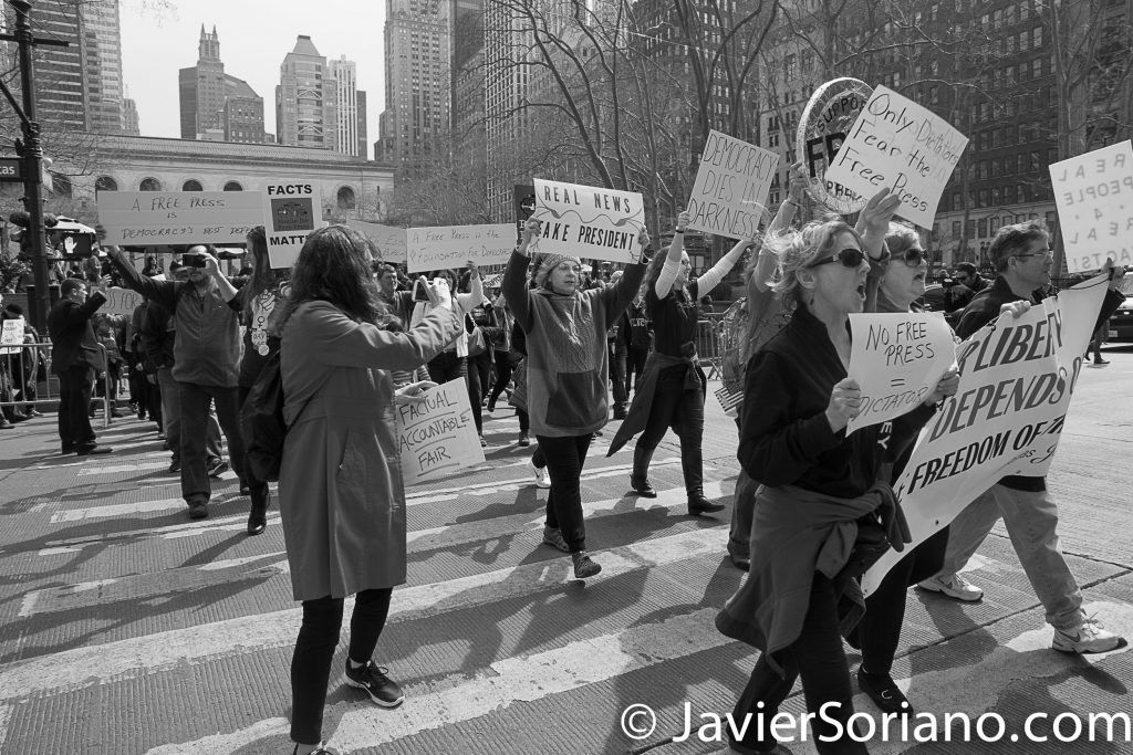 3/25/2017 NYC - People for Free Press. Activists marching from Bryant Park to the New York Times building. Photo by Javier Soriano/www.JavierSoriano.com