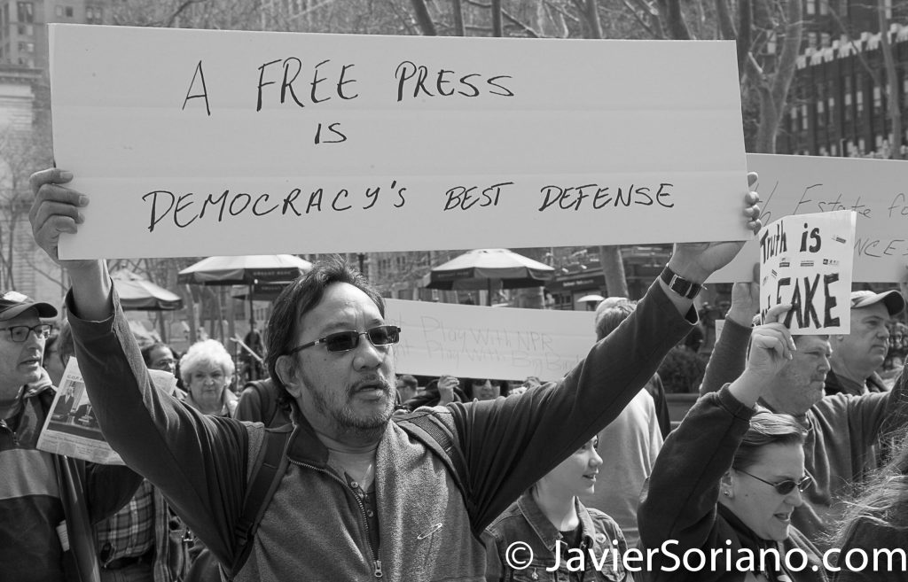 "3/25/2017 NYC - People for Free Press. Activists marching from Bryant Park to the New York Times building. ""A free press is democracy's best defense."" Photo by Javier Soriano/www.JavierSoriano.com"
